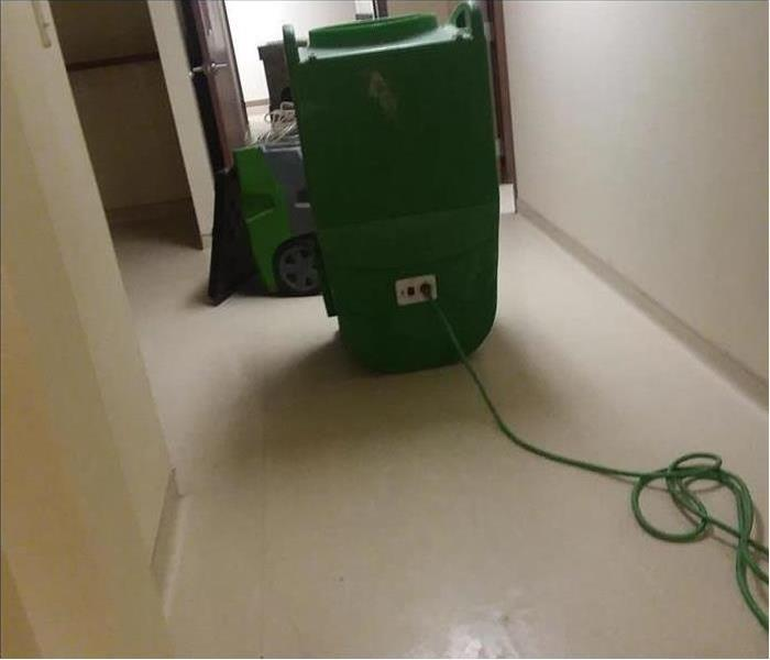 cleaned and sanitized hallway from a sewer backup