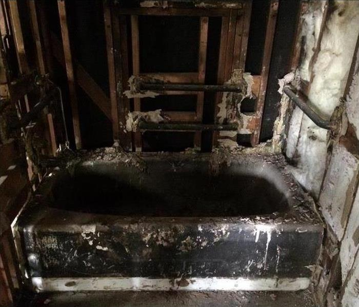 Fire Damage in Residential Bathroom Before