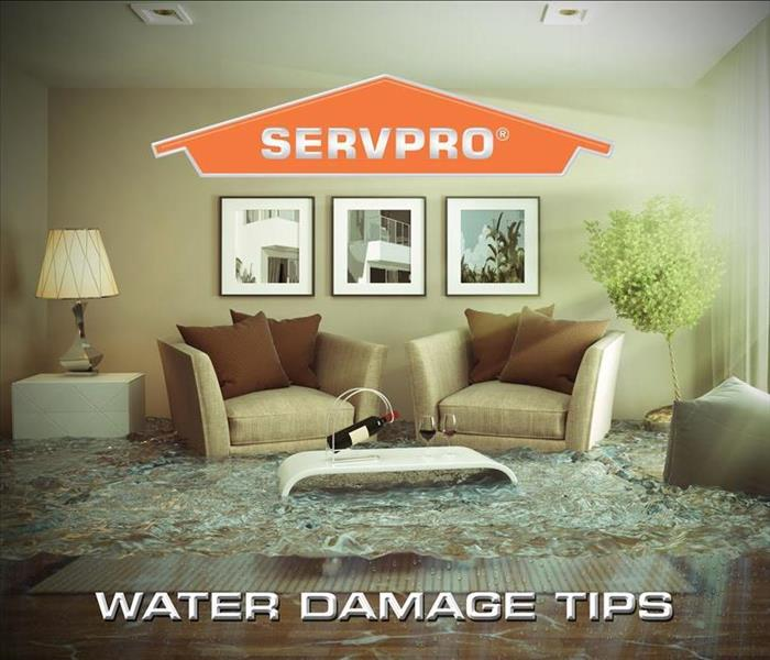 "A living room with a foot of clear water in it due to a water break & the words; ""Water Damage Tips"" spelled out"